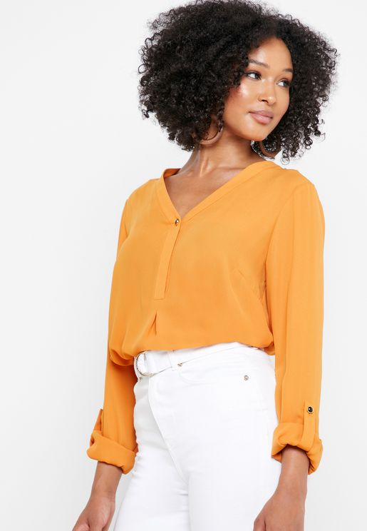 V-Neck Roll Sleeve Top