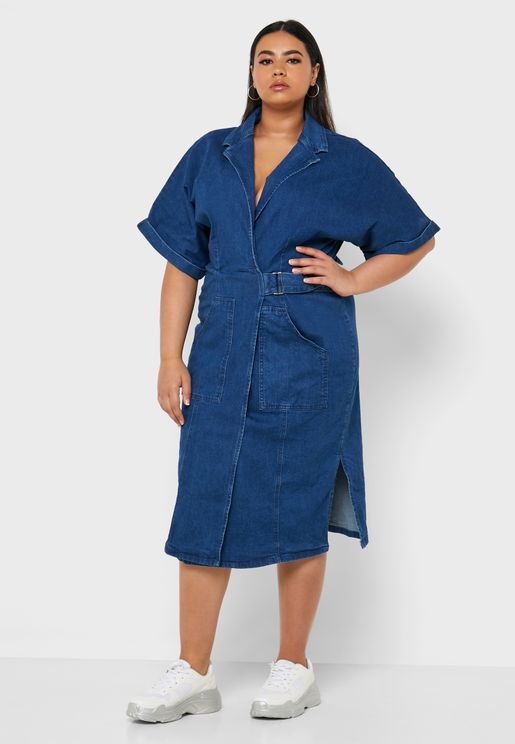 Side Split Denim Wrap Dress