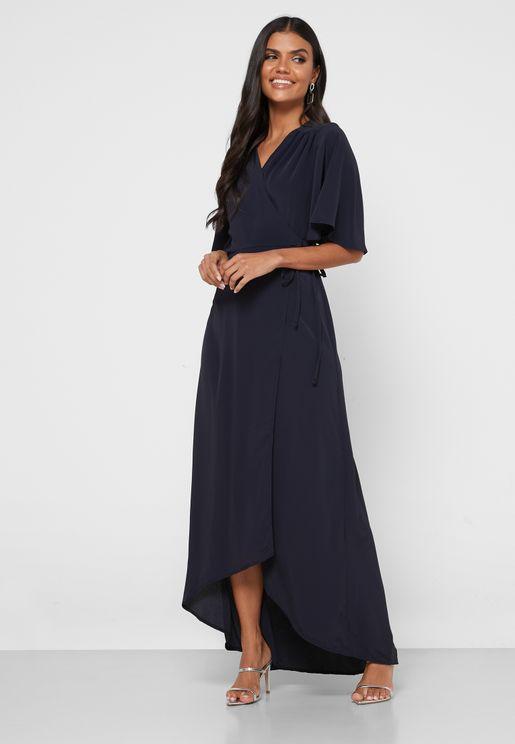 Flared Sleeves Wrap Maxi Dress