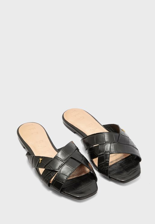 Zelania Embossed Croc Effect Flat Sandal