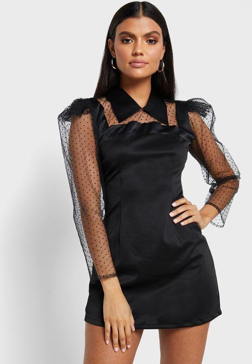 Mesh Puff Sleeve Dress