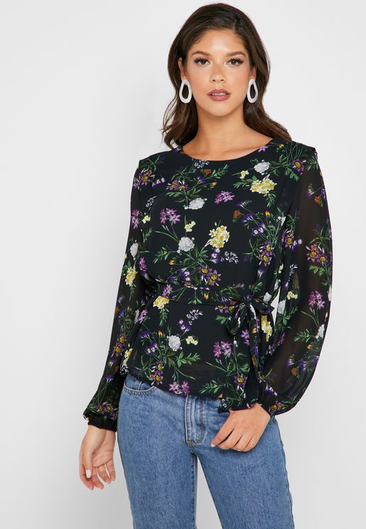 Tie Waist Floral Print Top