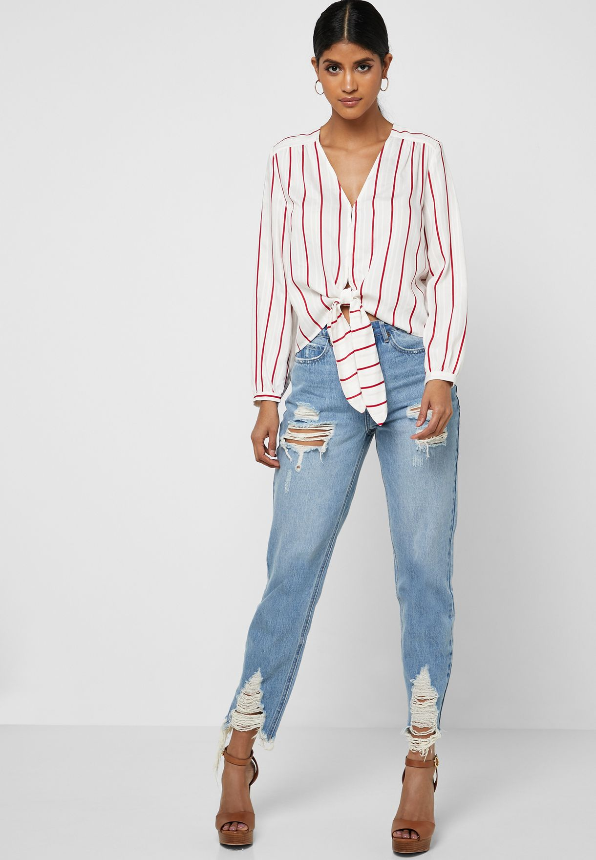 Striped Tie Front Shirt