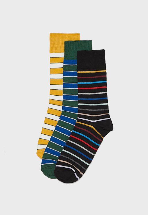 3 Pack Checked Socks