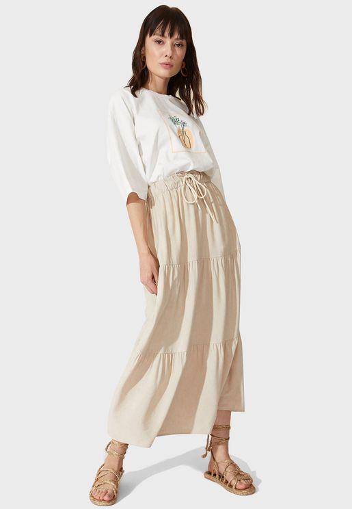 Drawstring Detail Midi Skirt