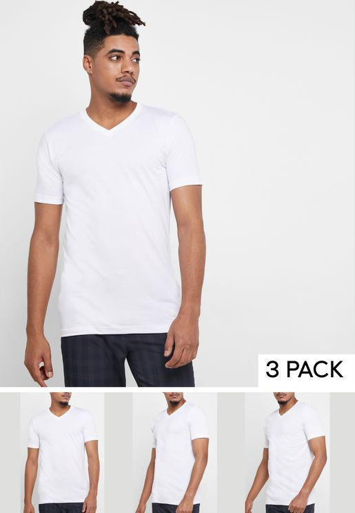 3 Pack Basic V Neck T-Shirts