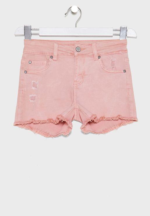 Kids Acid Wash Denim Shorts