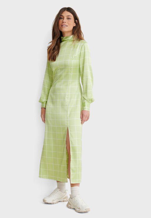 High Neck Split Detail Maxi Dress