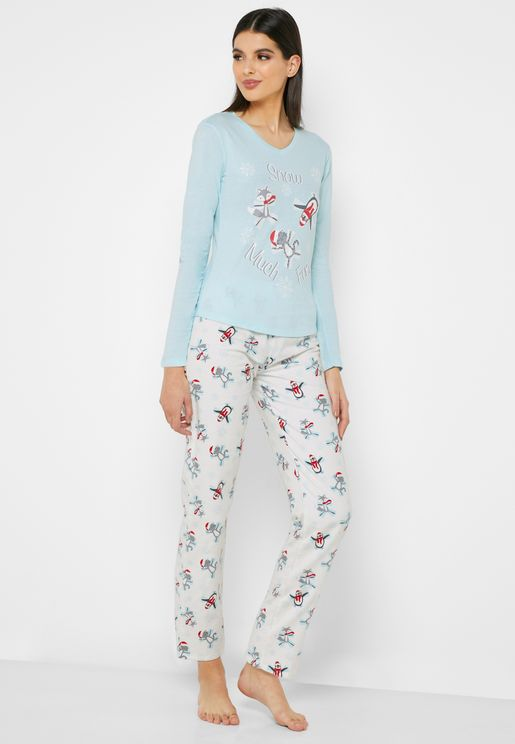Christmas T-Shirt & Printed Pyjama Set