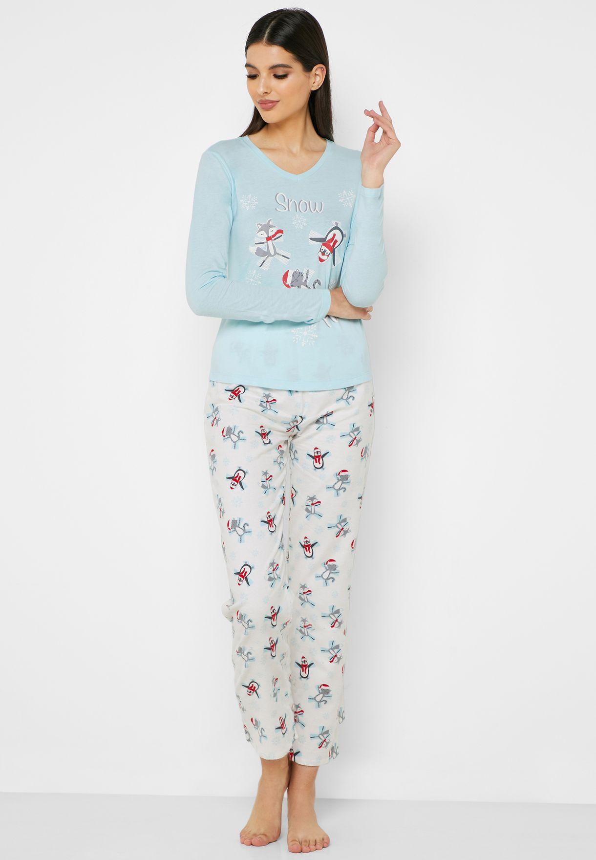 Christmas T-Shirt & Printed Pyjama Set