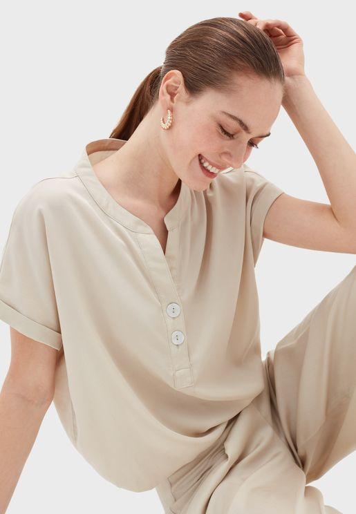 Roll Sleeves Button Detail Shirt