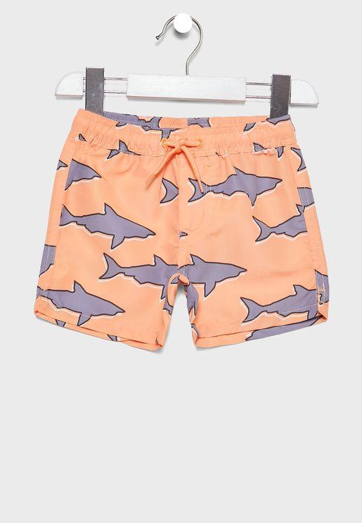 Kids Shark Print  Swim Shorts