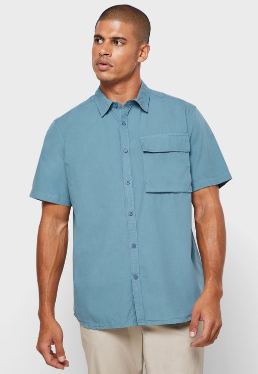 Drop Shoulder Cargo Pocket Shirt