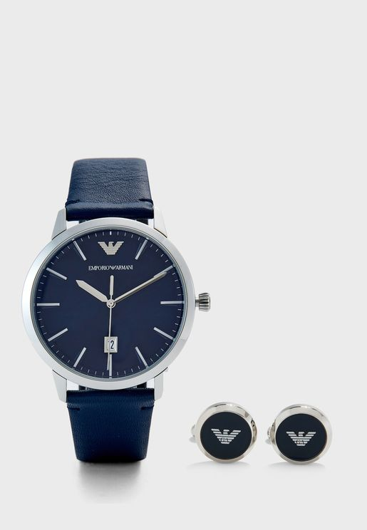 AR80032 Analog Watch + Cufflinks Set