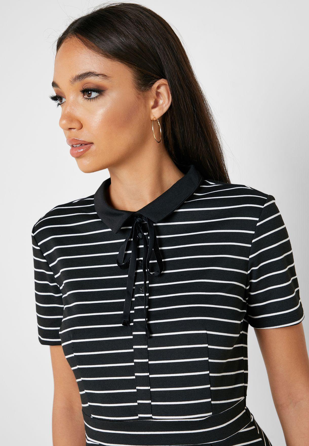 Collar Detail Skater Dress