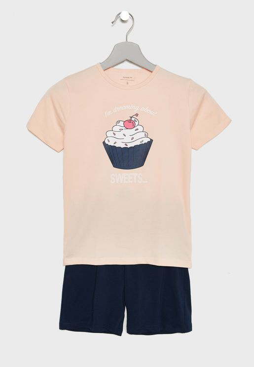 Kids Ice Cream T-Shirt + Shorts Set