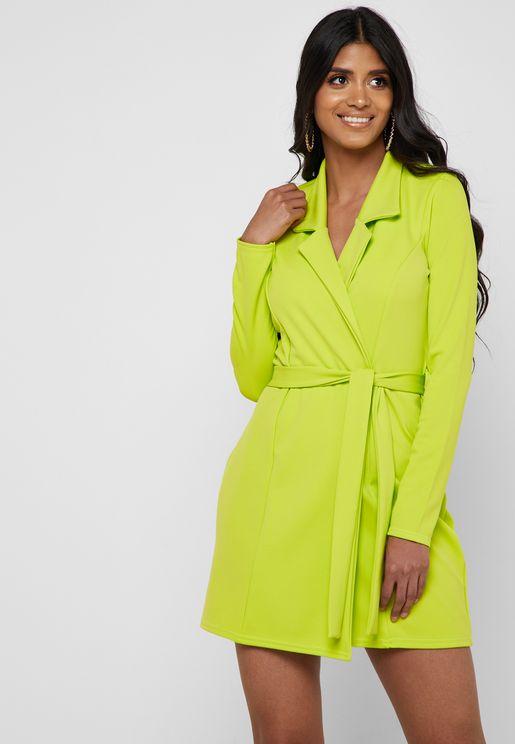 Belted Blazer Dress