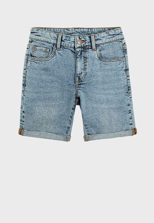 Youth Light Wash Denim Shorts