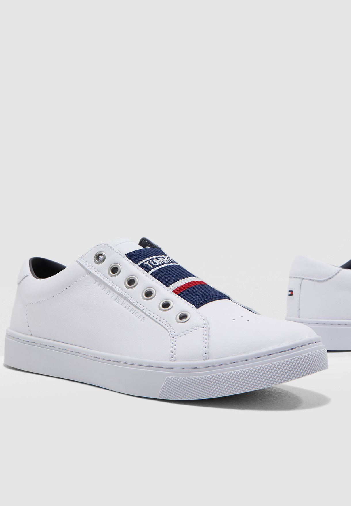 0eed9dc978a44 Shop Tommy Hilfiger white Tommy Elastic Sneaker FW0FW04019 for Women ...