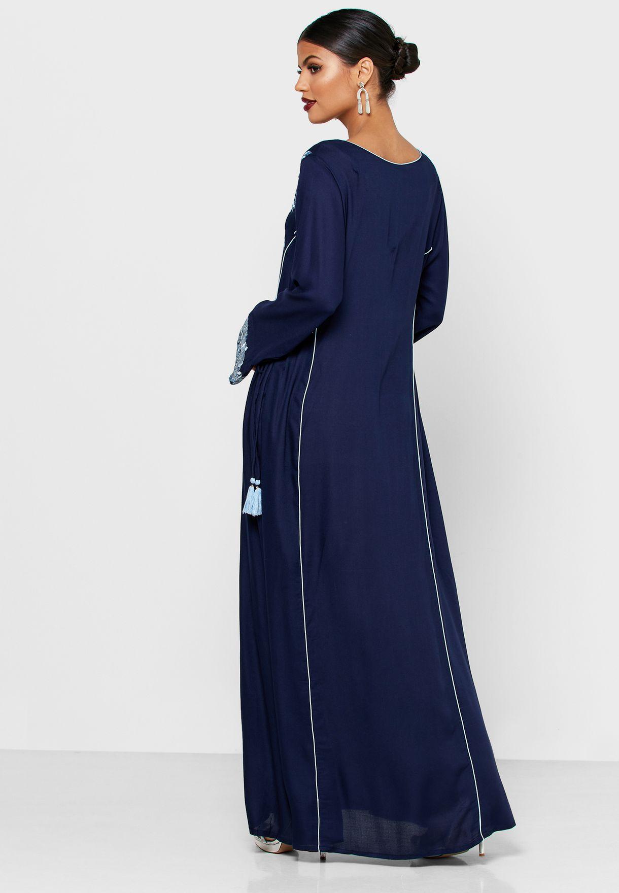 Buy Kashkha Blue Embellished Jalabiya For Women, Uae 301000at83nyp