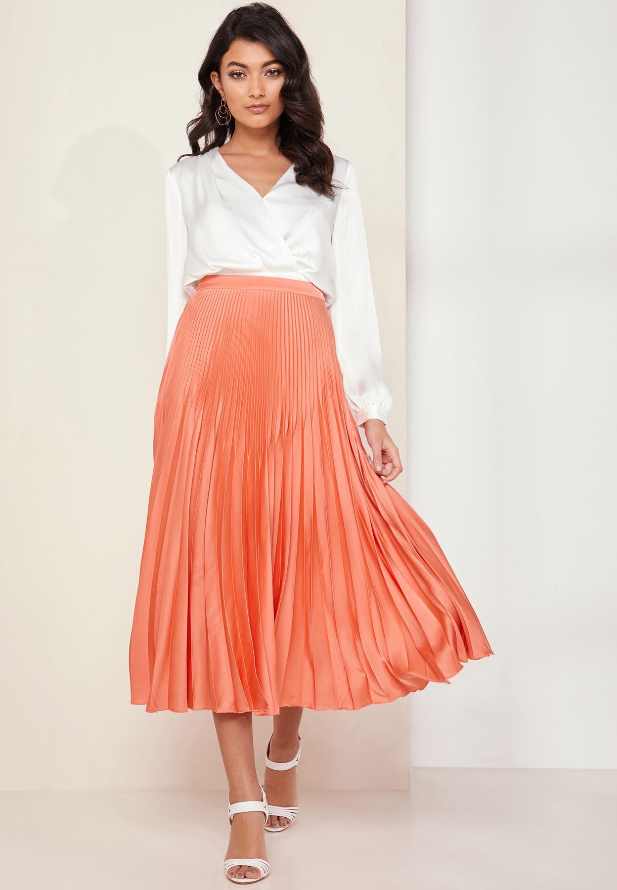a5b4249c99c4e Shop Reiss pink Isidora High Waist Pleated Skirt 281084/66 for Women ...