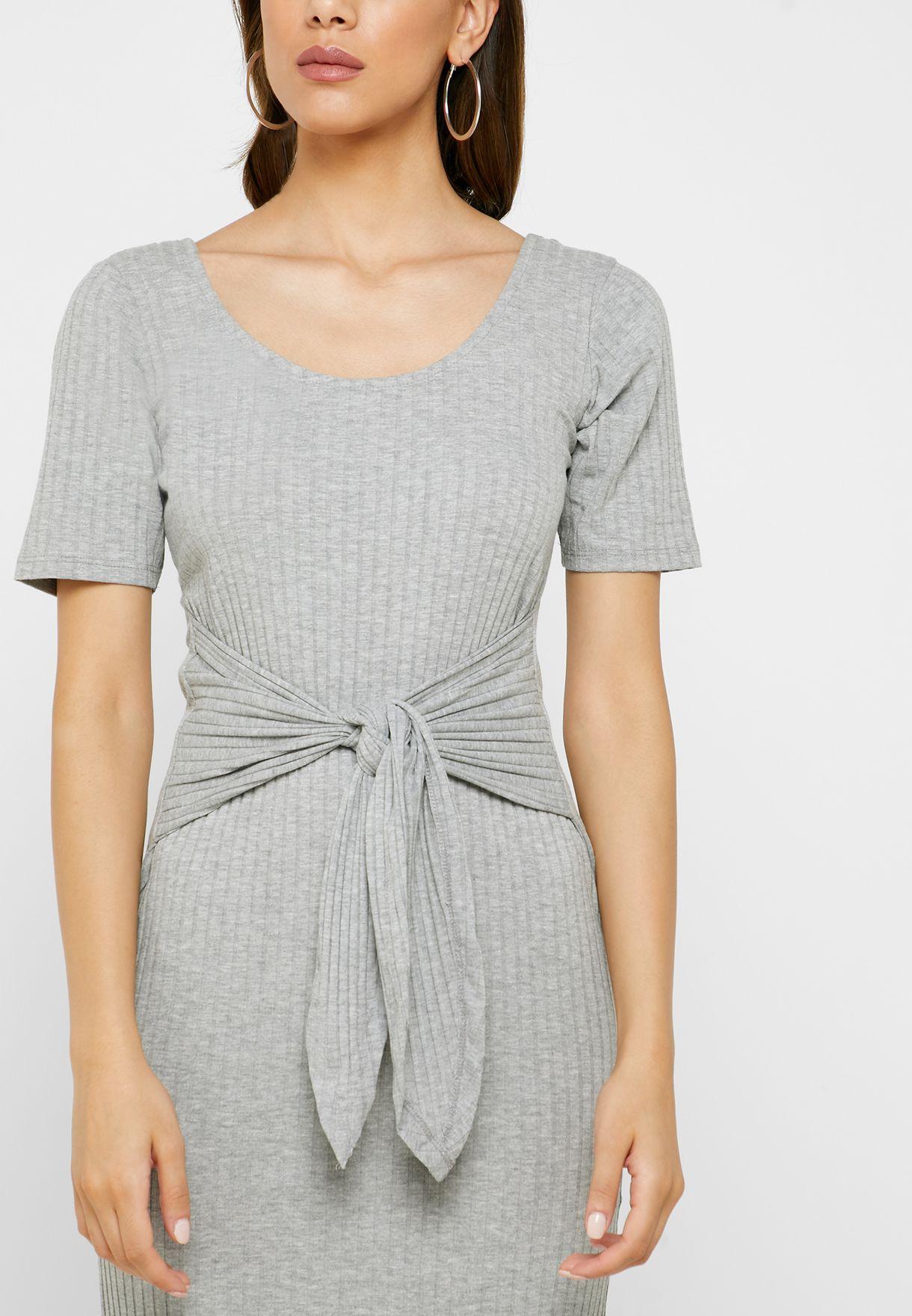 Tie Waist Ribbed Dress
