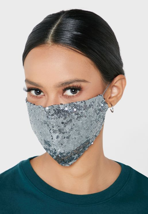 Allover Small Sequins Mask