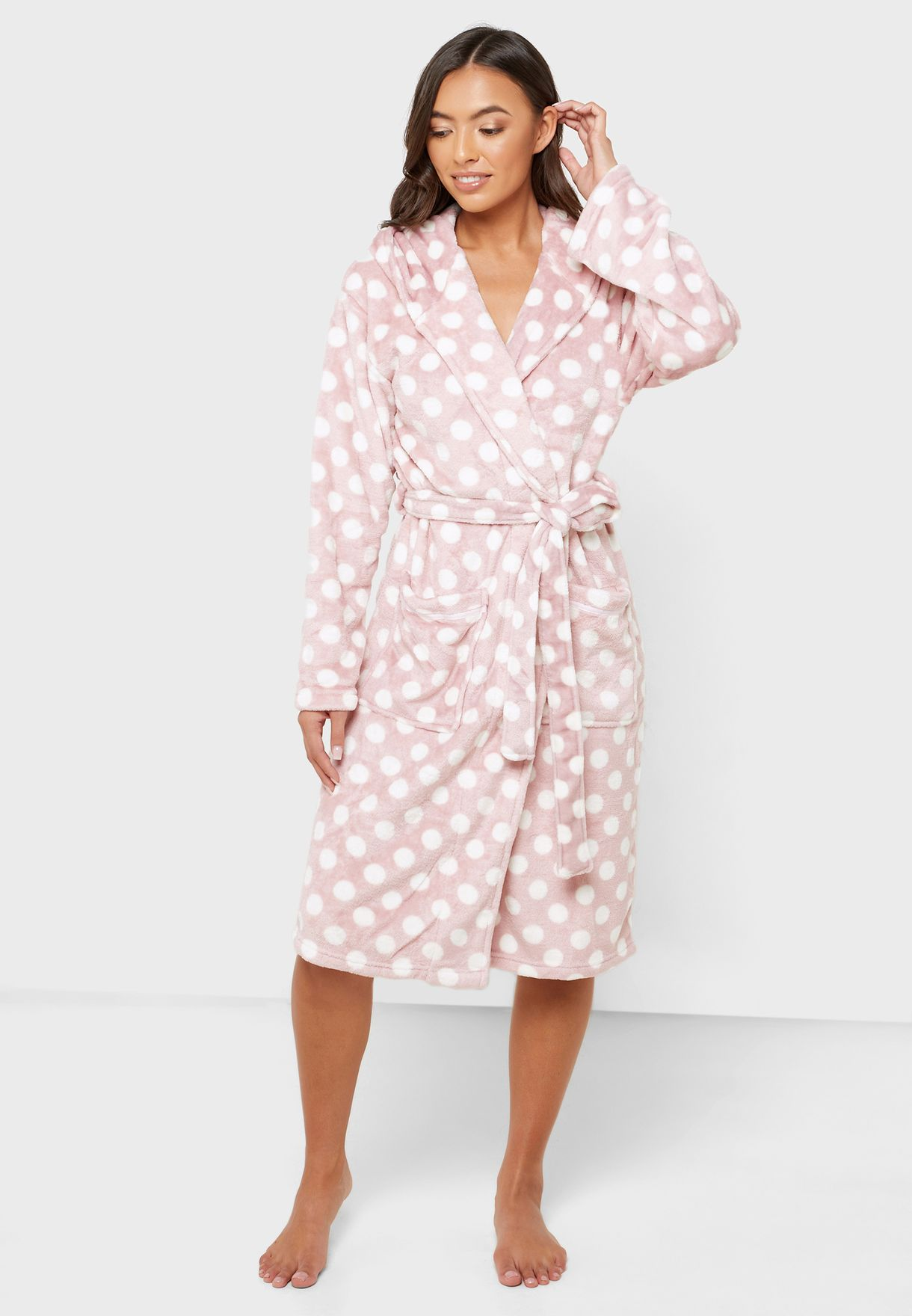 Polka Dot Belted Hooded Robe