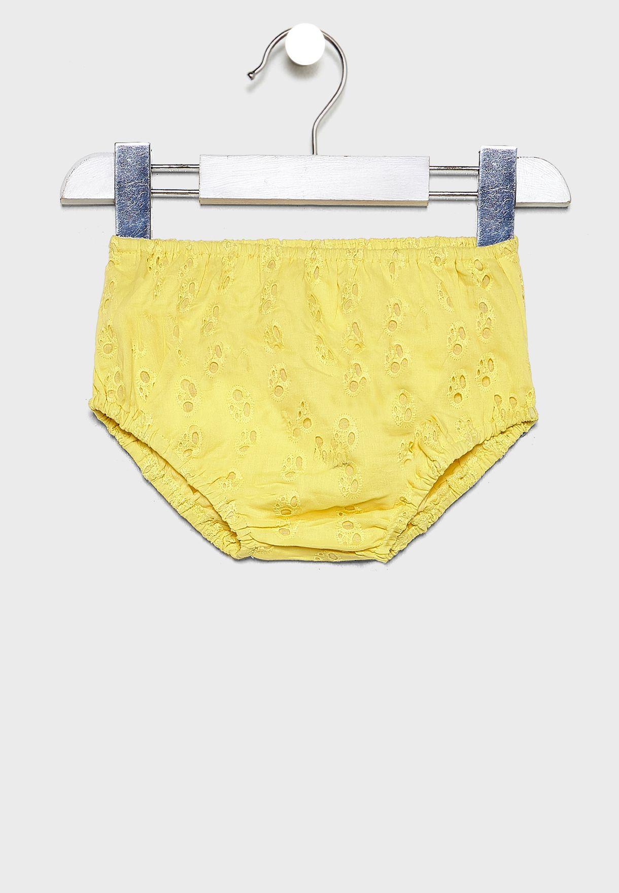 Infant Ruffle Trim Broderie Dress+Knicker Set