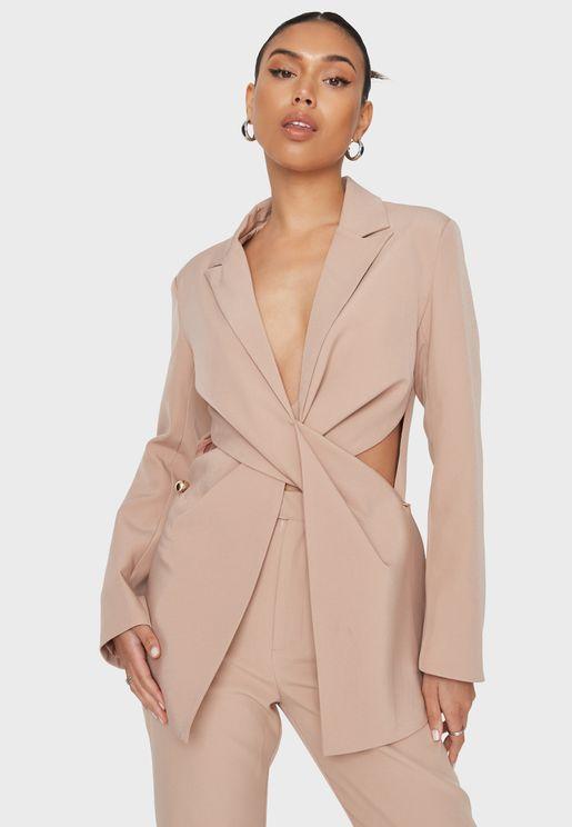 Tailored Twist Front Longline Blazer