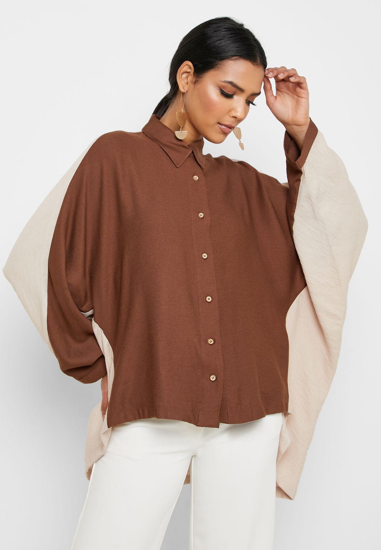 Colorblock Asymmetric Shirt