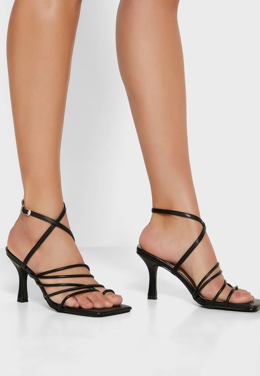 Multi-Strap Square Toe Stiletto Heel Sandal
