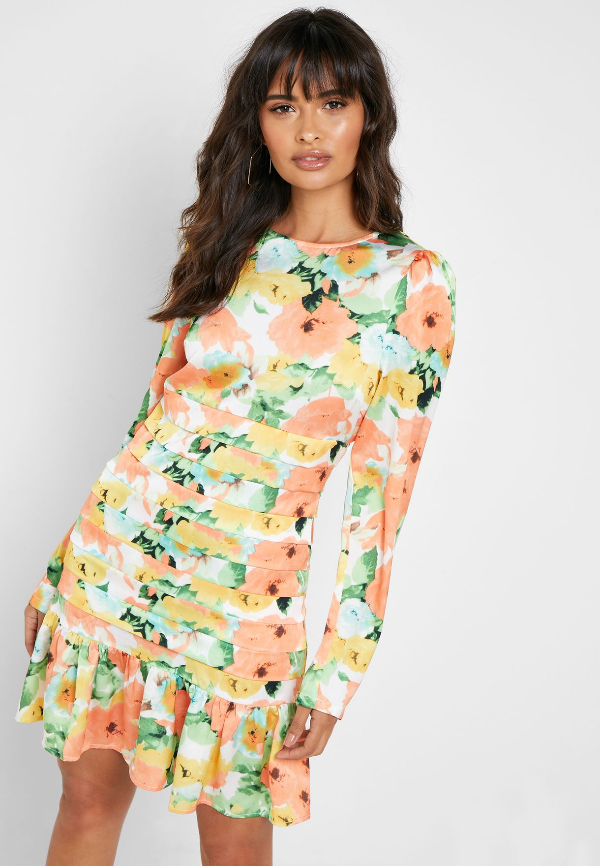 Ruffle Hem Printed Dress