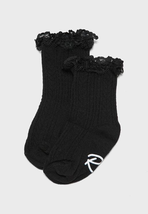 Kids 2 Pack Lace Frill Socks