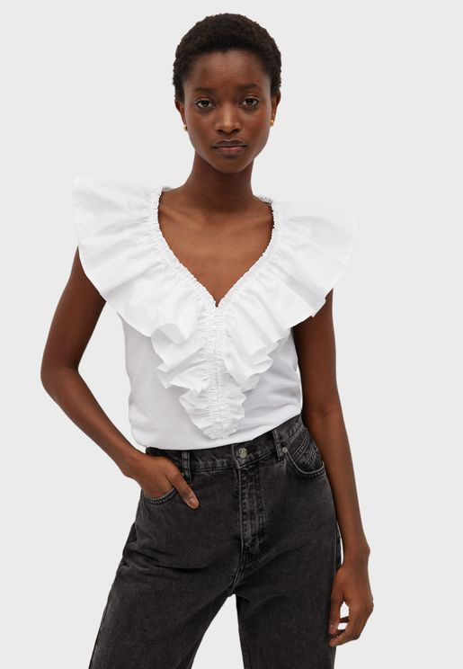 Frill Detail V-Neck T-Shirt
