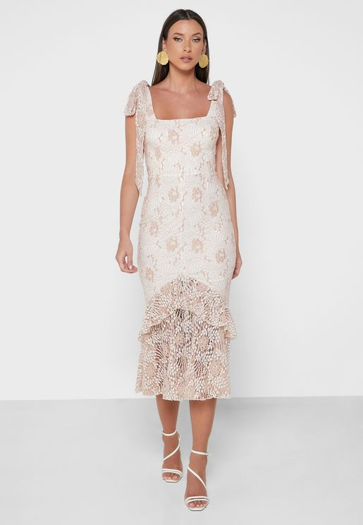 Broad Neck Lace Detail Dress