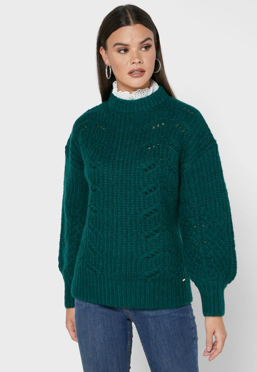 Molliey Chunky Lace Detail Sweater