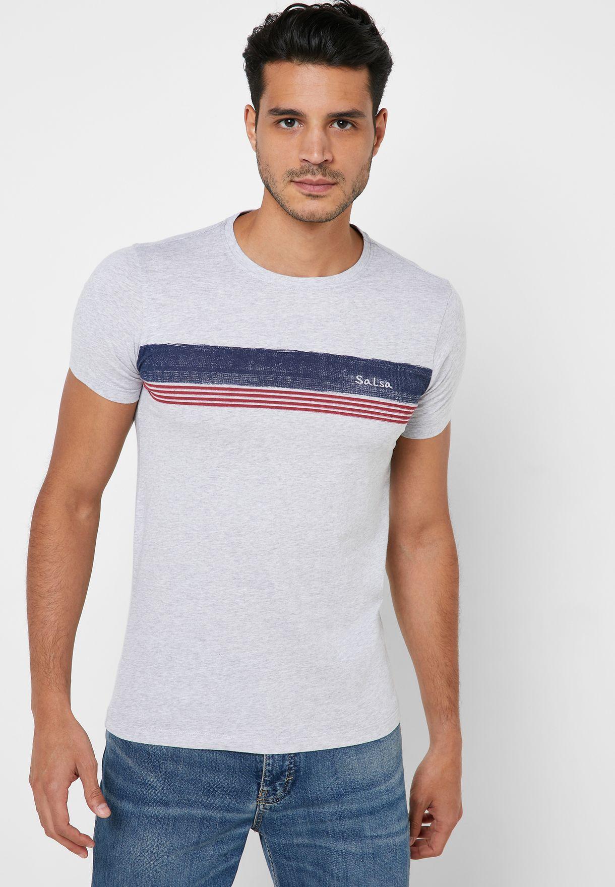 Chest Stripe Slim Fit Crew Neck T-Shirt