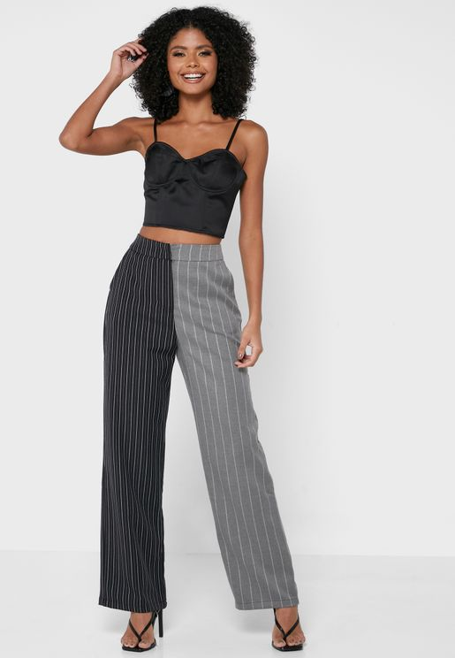 Colorblock Tailored Pants