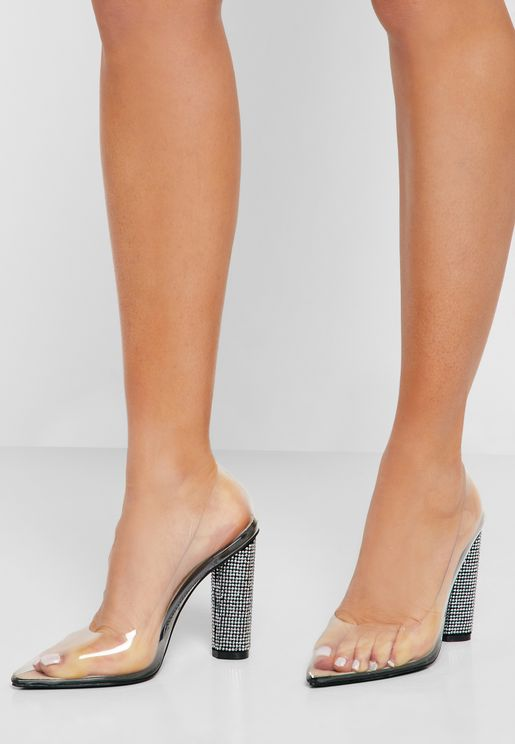 84d71ed258c2 Court Shoe In Clear With Diamante Heel. Ginger