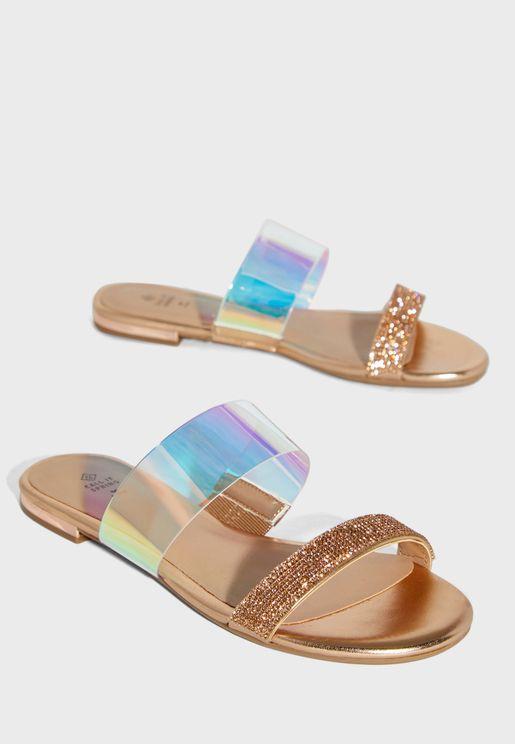 Ajana Double Strap Flat Sandal