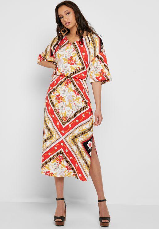 Side Slit Paisely Print Dress