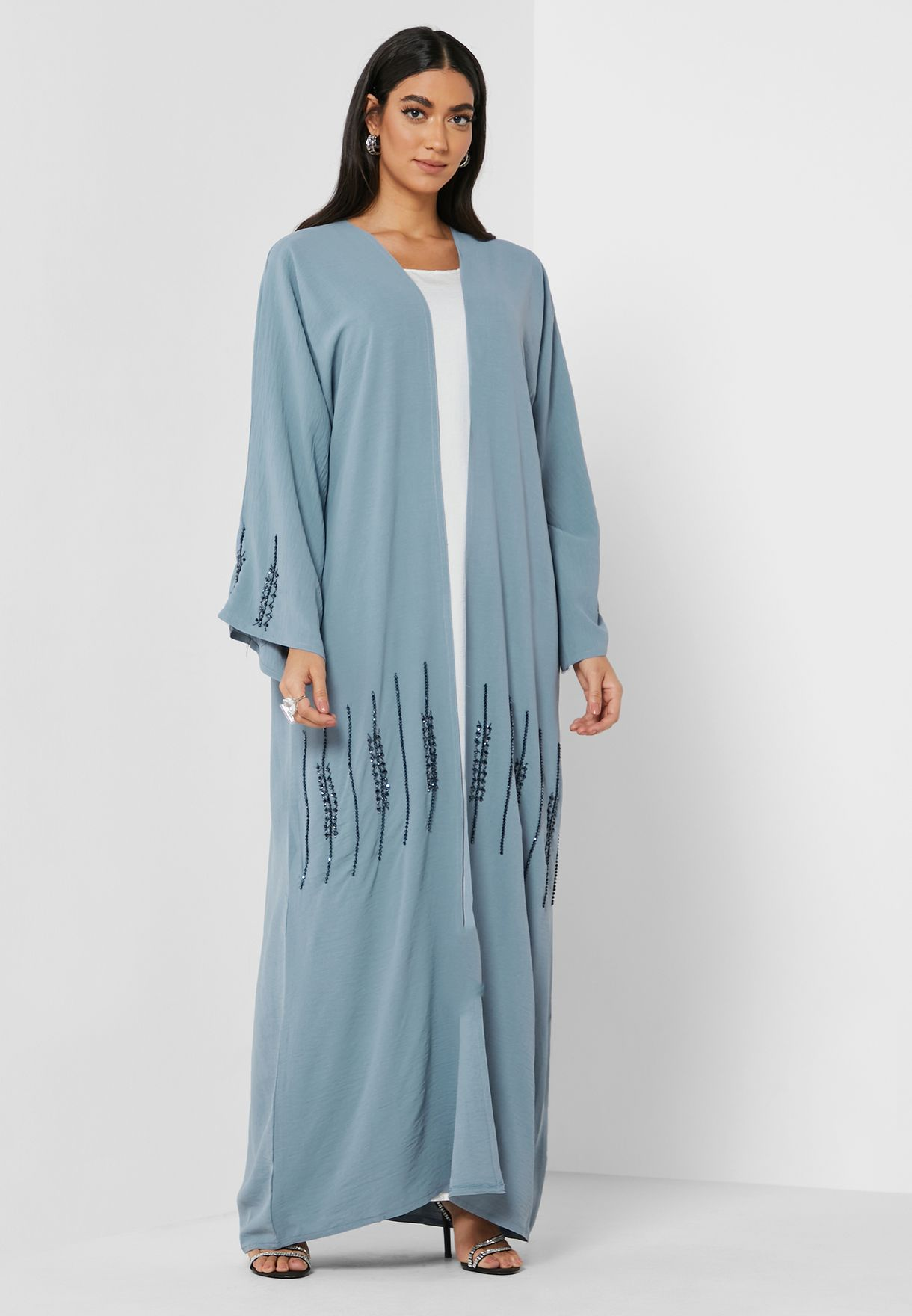 Colorblock Knitted Abaya