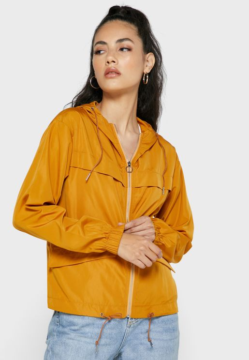 Drawcord Hooded Sporty Jacket