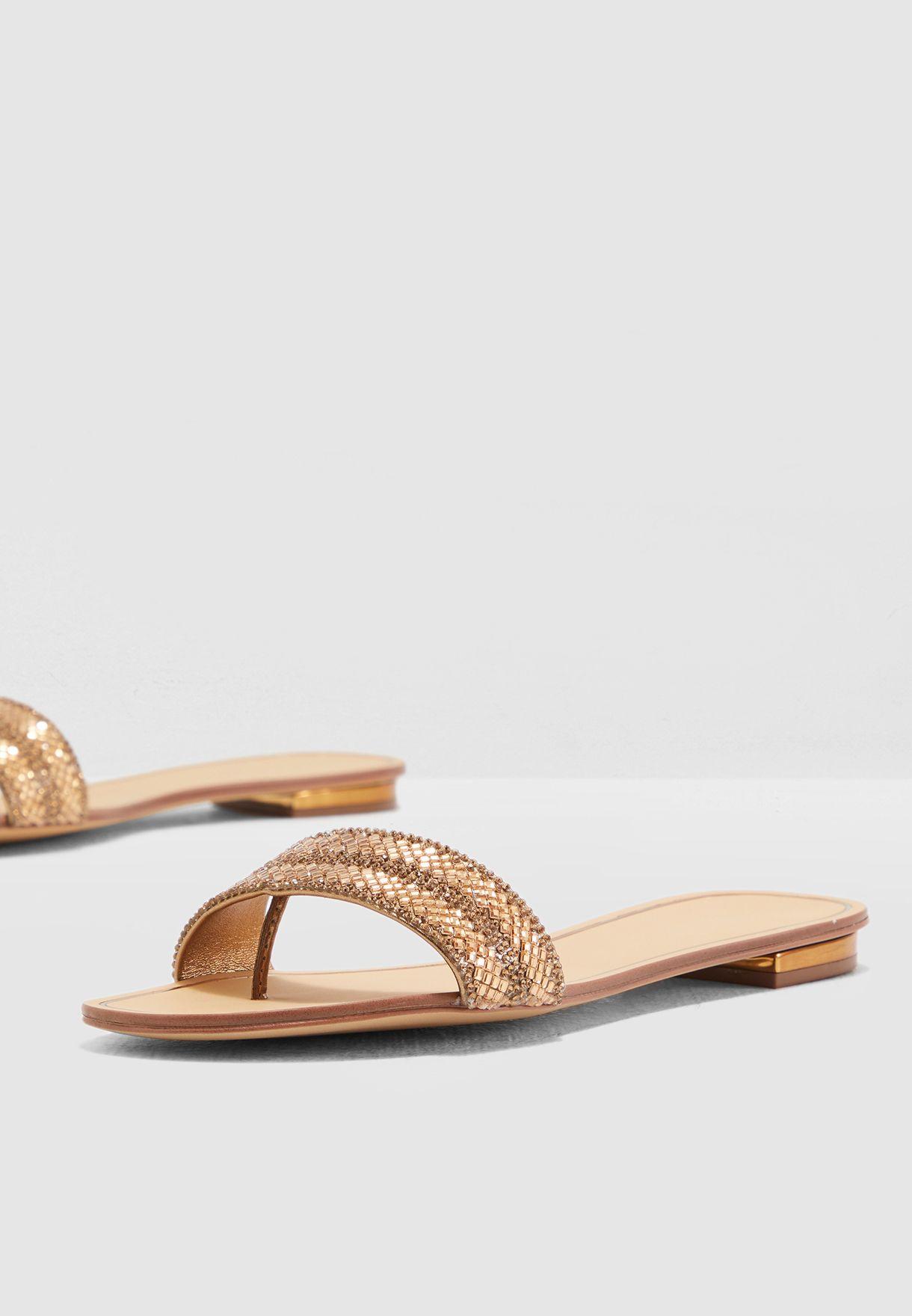 51867f40e93f Shop Aldo gold Cadilinna Sandal CADILINNA83 for Women in Saudi ...