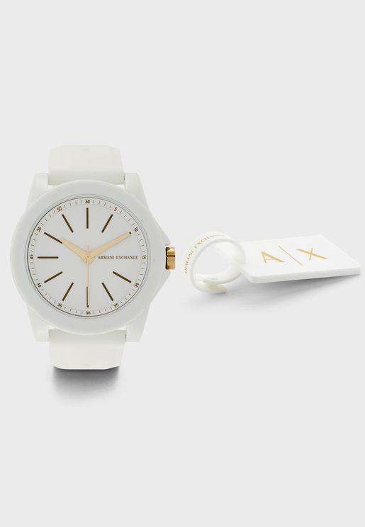 ساعة انالوج بحزام سيليكون AX7126