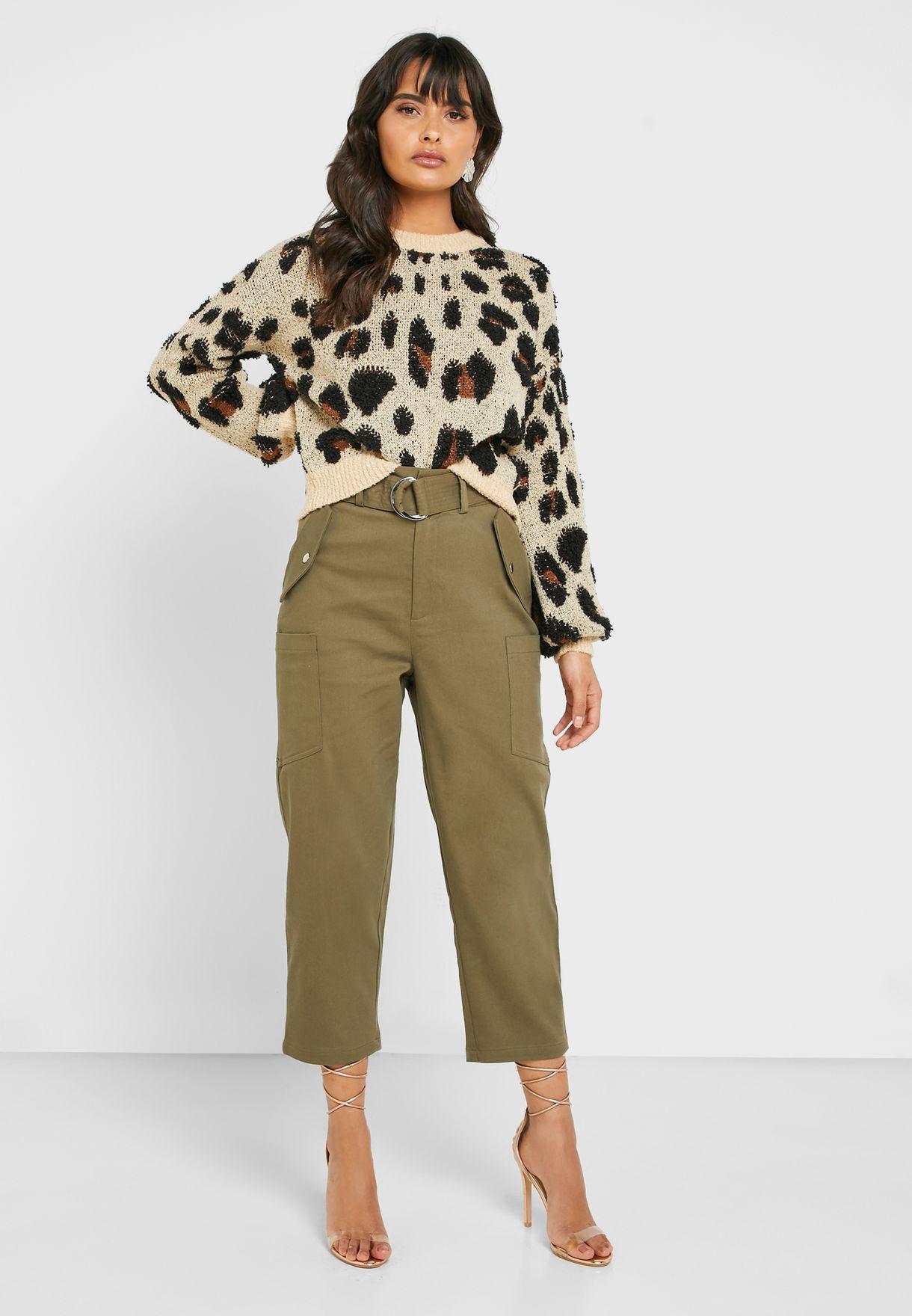Belted Crop Pants