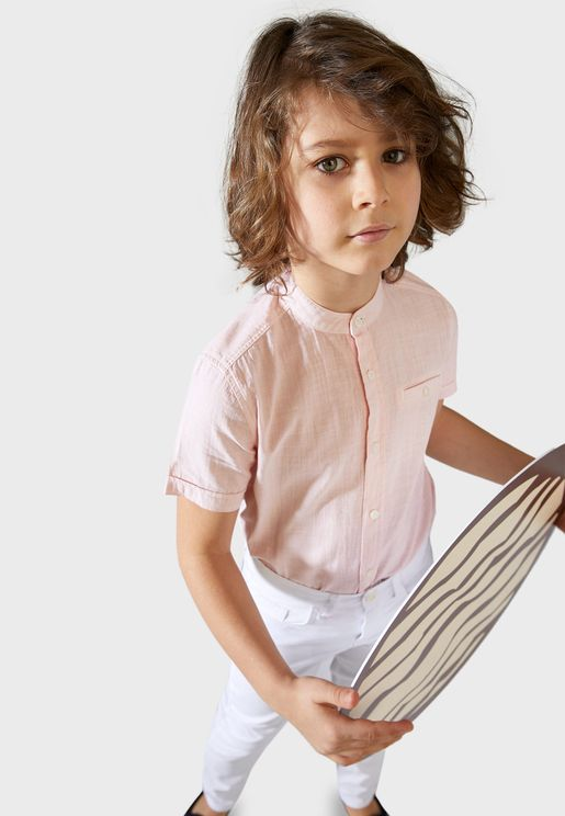 Kids Grandad Collar Shirt