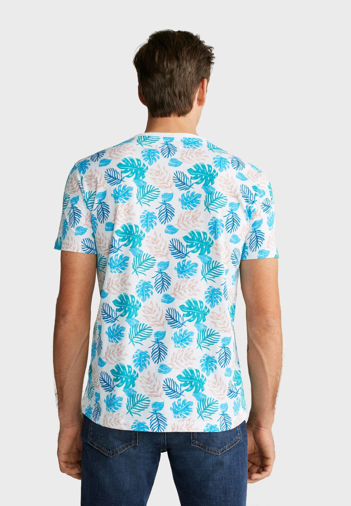 Leaves Print Crew Neck T-Shirt