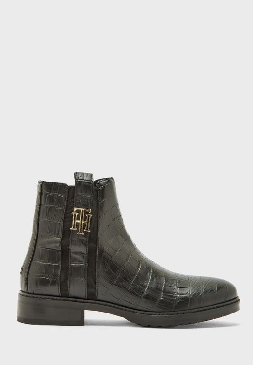 Croco Look Dressy Ankle Boot